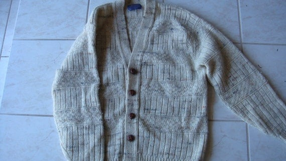 PENDLETON FISHERMAN CARDIGAN vintage wool boyfriend sweater, free shipping