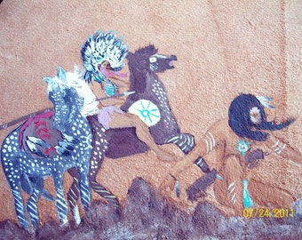 Tracks / Vintage Original Indian Art / Chiefs and Appaloosa Horses Leather Painting/ Signed / Titled