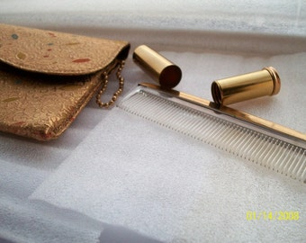 Britemode Signed Gold Threaded Clutch Purse w Finger Ring and fitted Libstick tube/ Comb / Vintage 1930s ish
