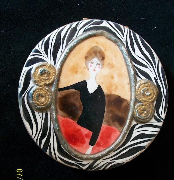 Vintage Hand-Painted Enamel Femme Compact / Unique