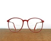 vintage 80s cherry red horn rim frames for glasses or shades PREPPY RED