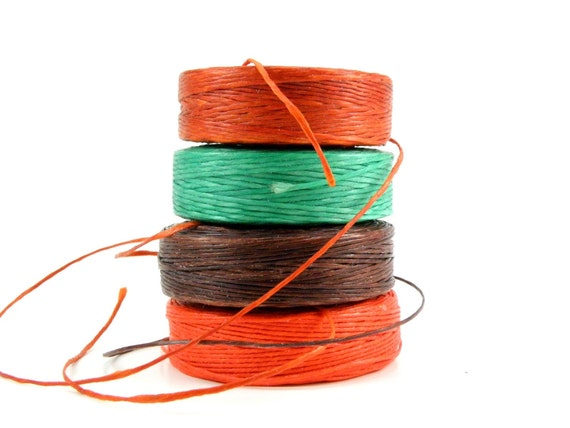 vintage 100 percent beeswax nylon beading cord NICE MIX