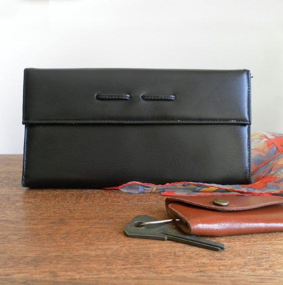 SALE -- vintage black small leather clutch SIMPLE STYLES