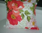 Orange Coral Decorative Pillow - 20 x 20 Inch Reversible - Peony Blossoms Decorative Pillow - 22 Inch Insert Included