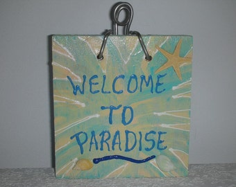 Starfish Sale - Welcome Plaque - Greetings Sign - Starfish Welcome to Paradise Door Bell Sign