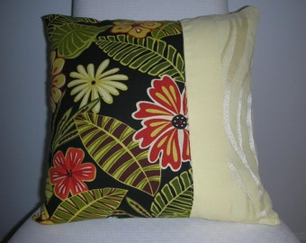 Yellow Pillow - Tropical Pillow - Black Pillow - Red Flower Pillow - 15 x 15 inch Reversible - Tropical Flower Design - Insert Included