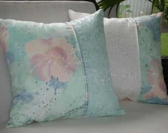 Great Price - Cottage Style Pillow - 15 x 15 inches Reversible - Grey Jade Pastel Watercolor Design