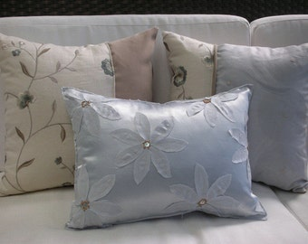 Silver Pillow - Flower Pillow  - Designer Lumbar Pillow - Decorative Pillow - 12 x 16 inch - Pillowscape Designs' Handmade Flower Design