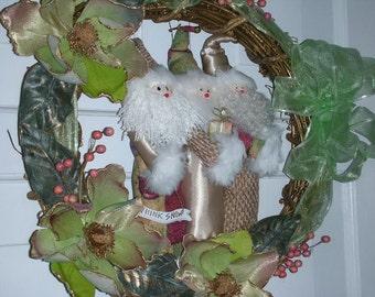 Holiday Wreath - Rustic Christmas Wreath w/ Santa Trio - Gold Grapevine Wreath 20 inch - Woodland Tan and Green Santa Christmas Wreath
