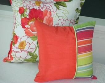 Pillow Sale - Orange Pillow - Striped Pillow - Green Pillow - Rainbow Reversible Pillow - 15 x 15 Inch - Bold Fiesta Stripe Accent Pillow