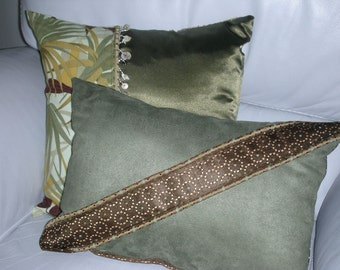 Decorative Pillow - Brown and Green Decorative Accent Throw Pillow - Reversible - 12 x 16 inch - Elegant Sash Accent Pillow