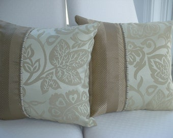 Beige Decorative Pillow - Tan Pillow - Taupe Pillow - Brown Accent Pillow - 15 x 15 inch Reversible - Taupe Herringbone Leaf Design Pillow