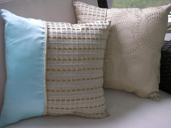 Decorative Pillow - Accent Throw Pillow - 15 x 15 inches Reversible - Soft Aqua and Beige Checked