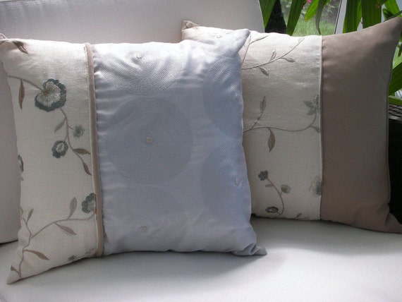 Accent Pillow - 15 x 15 inch Reversible - Circle and Flower Design Home Decor Fabrics - Decorative Pillow - Throw Pillow
