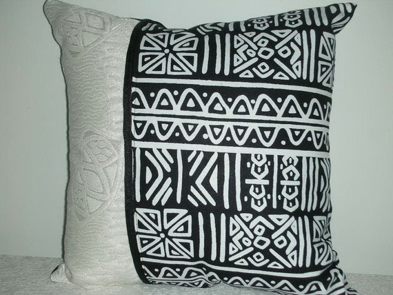 Reserved for Candice - Decorative Pillow - Black and White Graphic Tribal Print - 15 x 15 inch Reversible - Decorative Accent Throw Pillow