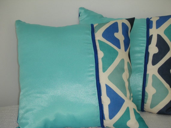 Decorative Accent Throw Pillow - 15 x 15 inches Reversible - Deco Diamonds Design in Shades of Blues and Aqua