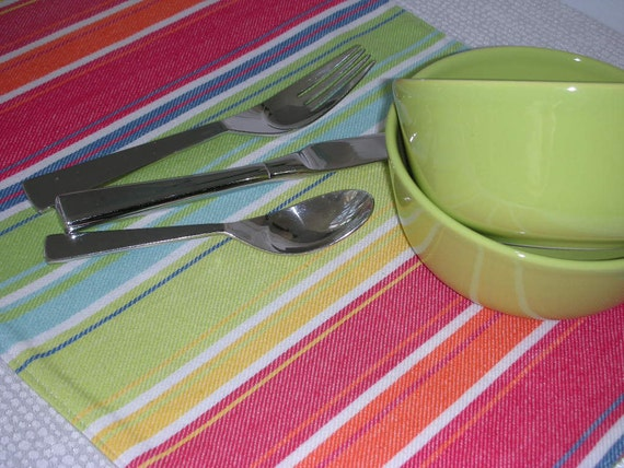 Placemats - Set of Six - Reversible - Bold Fiesta Stripe Design by Pillowscape Designs