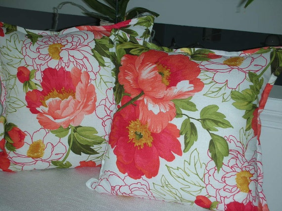 Coral Pillow - Orange Pillow - Large Flower Pillow - 20 x 20 Inch Reversible - Peony Blossoms Decorative Pillow - 22 Inch Insert Included