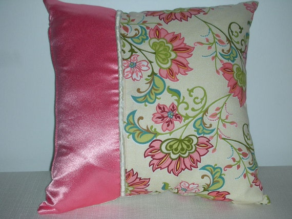 Discounted Pillow - Coral Pink Pillow - Ivory Swirl Pillow - Flower Pillow - College - 15 x 15 Inch - Pink Flower Celebration Accent Pillow