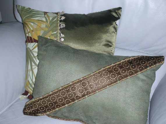 decorative pillow brown and green decorative accent throw. Black Bedroom Furniture Sets. Home Design Ideas