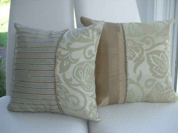 Beige Pillow With A Touch Of Grey - Decorative Throw Pillow - 15 x 15 inch Reversible - Woodland - Taupe Herringbone Leaf Design Pillow