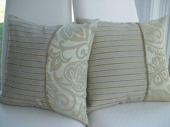 Beige Leaf Decorative Pillow - Autumn Decor Fall Trend Pillow - 15 x 15 inch Reversible - Taupe Herringbone Leaf Design Pillow