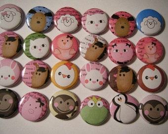 24 Cute Animal Fun Pinback Button Party Favors Brooches lot