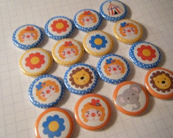 20 Circus Big Top Pinback Button Party Favors Brooch Pin Set