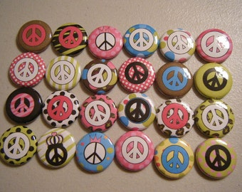 24 Cute Peace Pinback Button Party Favors Brooches