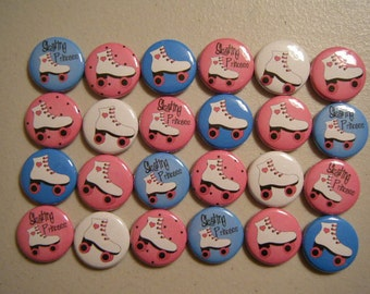 24 Roller Skate Skater  Princess Girl Pinback Button Party Favors Brooches