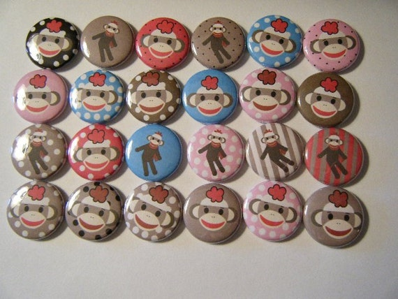 24 Sock Monkey Pinback Button Party Favors Brooch Pin Set