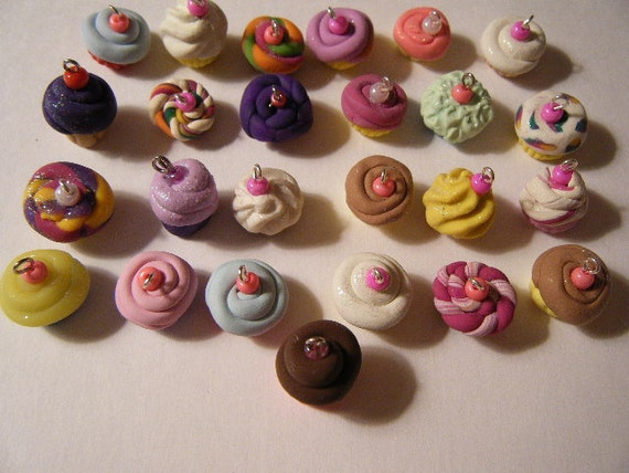 Custom Boutique 25 Polymer Clay Cupcake Charm Lot
