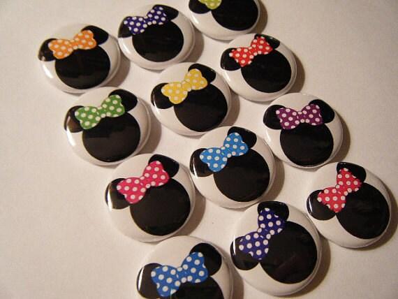 12  Minnie Polka Dot bow Mouse Ears Flatback Flat Back Set