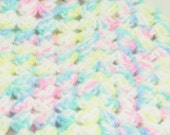 Newborn/Infant/Baby Swaddle, Receiving Lap or Crib Blanket Green Pink Yellow Blue -OOAK- One Of A Kind Ready To Ship Crochet
