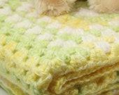 Newborn/Infant/Baby Swaddle, Receiving Lap or Crib Blanket Yellow, White Light Green -OOAK- One Of A Kind Ready To Ship Crochet