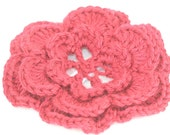 CLEARANCE SALE - Large Flower Hair Clip - Autumn Red- OOAK Ready To Ship - Teens Adults Handmade & Crocheted Crochet