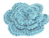 CLEARANCE SALE -  Medium Flower Hair Clip -Dark Blue -OOAK Ready To Ship- Toddler Kids Handmade & Crocheted Crochet