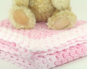Newborn/Infant/Baby Swaddle, Receiving Lap or Crib Blanket Light & Dark Pink One Of A Kind -OOAK- Ready To Ship Crochet