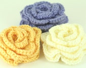 CLEARANCE SALE - Set of 3 Large Rose Hair Clips - Buttercream, Sunshine, Lavender- Ready To Ship - Teen Adult Handmade & Crocheted