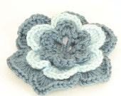 CLEARANCE SALE - Large Flower Hair Clip - Country Blue, Light Blue- OOAK Ready To Ship - Teens Adults Handmade & Crocheted Crochet