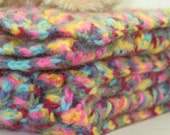 Newborn/Infant/Baby Swaddle, Receiving Lap or Crib Blanket Hot Pink Teal Yellow Navy -OOAK- One Of A Kind Ready To Ship Crochet