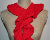 """CLEARANCE SALE - Single Ruffle Scarf 50"""" Length Solid Red - OOAK Ready To Ship - Handmade & Crocheted"""
