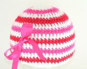 CLEARANCE SALE - Red, Hot Pink, White Striped Hat With Pink Ribbon Bow Infant 6-12 Months - Ready To Ship - Handmade & Crocheted