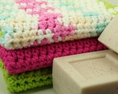 Washcloth Set of 3 - Scrubber, Wash Cloth, Shower, Bathroom, Eco-Friendly - Handmade & Crocheted Customize Colors