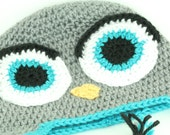 CLEARANCE SALE -  Hoot The Owl Hat With Big Eyes Earflaps and Braids - Toddlers 1-3 Years - OOAK Ready To Ship - Handmade & Crocheted