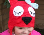 CLEARANCE SALE - Sleepy Hoot The Owl Hat With Pointy Ears and Bow Kids 4-10 Years - OOAK Ready To Ship - Handmade & Crocheted Crochet