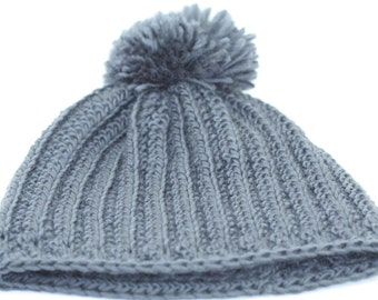 CLEARANCE SALE -Gray/Grey Ribbed Beanie Hat With Pom-Pom - Adults/Men/Women - OOAK Ready To Ship - Handmade & Crocheted Crochet