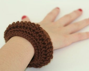 CLEARANCE SALE - Solid Chocolate Brown Round Thick Bangle Bracelet -Women/Woman/Girls/Teens - One Size Only  - Ready To Ship