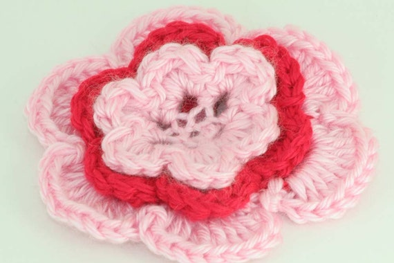 CLEARANCE SALE - Medium Flower Hair Clip -Pink, Red -OOAK Ready To Ship- Toddler Kids Handmade & Crocheted Crochet