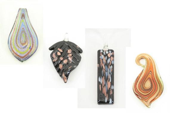 CLEARANCE SALE -  Supplies/Pendants: Orange/Brown/Blue Swirl,Black/Copper Leaf - Original Price 28.85